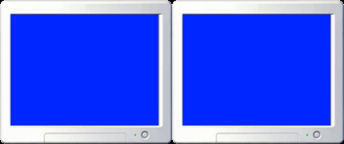Blank two-monitor setup