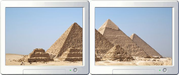 The Gizah pyramids stretched across a two-monitor setup