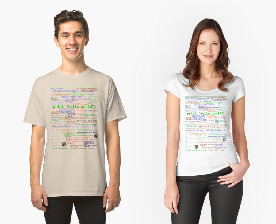 T-Shirt with Hello World in Forty-Seven Languages